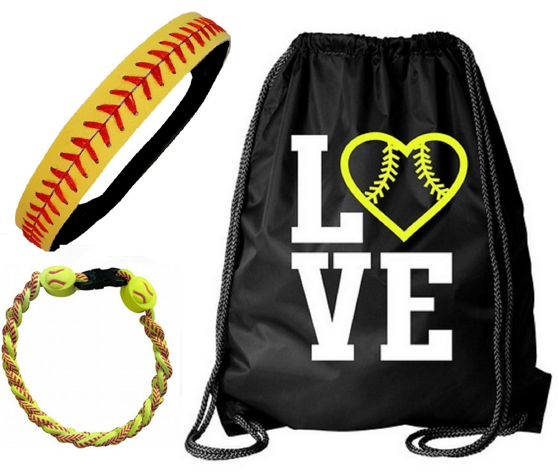 Kenz Laurenz Softball Headband Set - Leather Seamed Headbands Yellow Red Stitching, Softball Post Earrings, Softball Titanium Necklace, Softball Bow Hair Ties (Softball Set Bag Headband Bracelet)