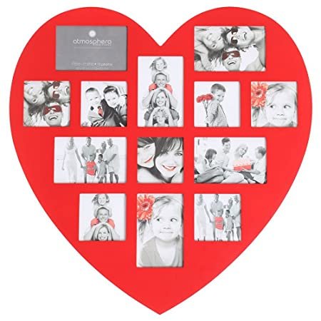 Red Heart Shaped Collage Photo Frame For 13 Photos Amazoncouk