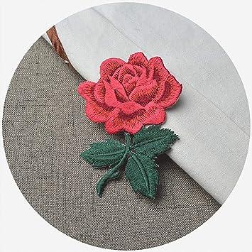 Rosa bordado Sew hierro en parche insignia chaqueta de cuello Busto vestido, diseño de flores, multicolor: Amazon.es: Hogar
