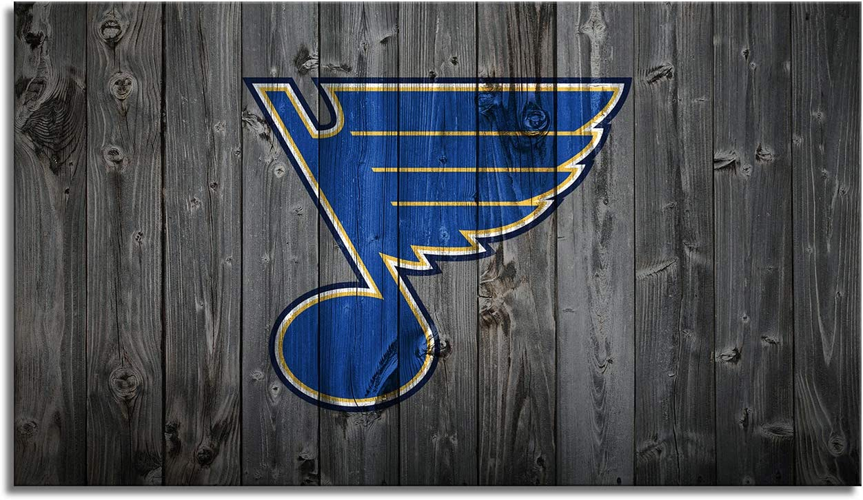 MIAUEN St Louis Blues Picture Wall Art Decor Poster with Frame Canvas Prints Sports Ice Hockey Decoration Home Living Room Bedroom Game Room Paintings Ready to Hang(28''Wx16''H)