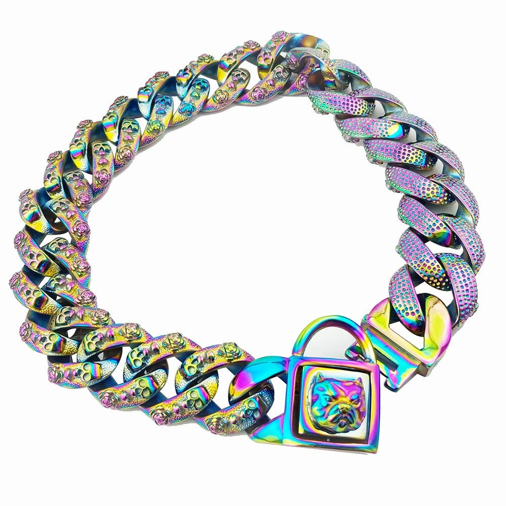 MUJING 32 Mm Rainbow Color Metal Dog Collar Stainless Steel Pet Chain Necklace 316L Stainless Steel Dog Choke Chain Collar,XXXL