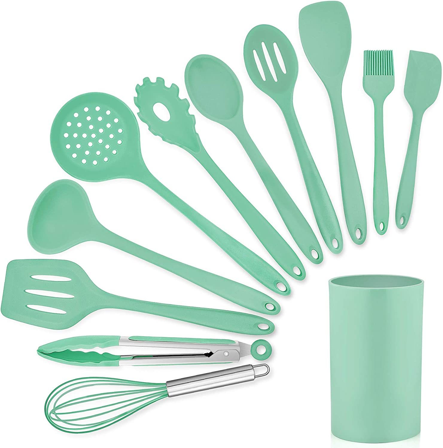LIANYU 12-Piece Green Silicone Kitchen Cooking Utensils with Holder, Kitchen Tools Set Include Slotted Spatula Spoon Turner Ladle Tong Whisk, Dishwasher Safe