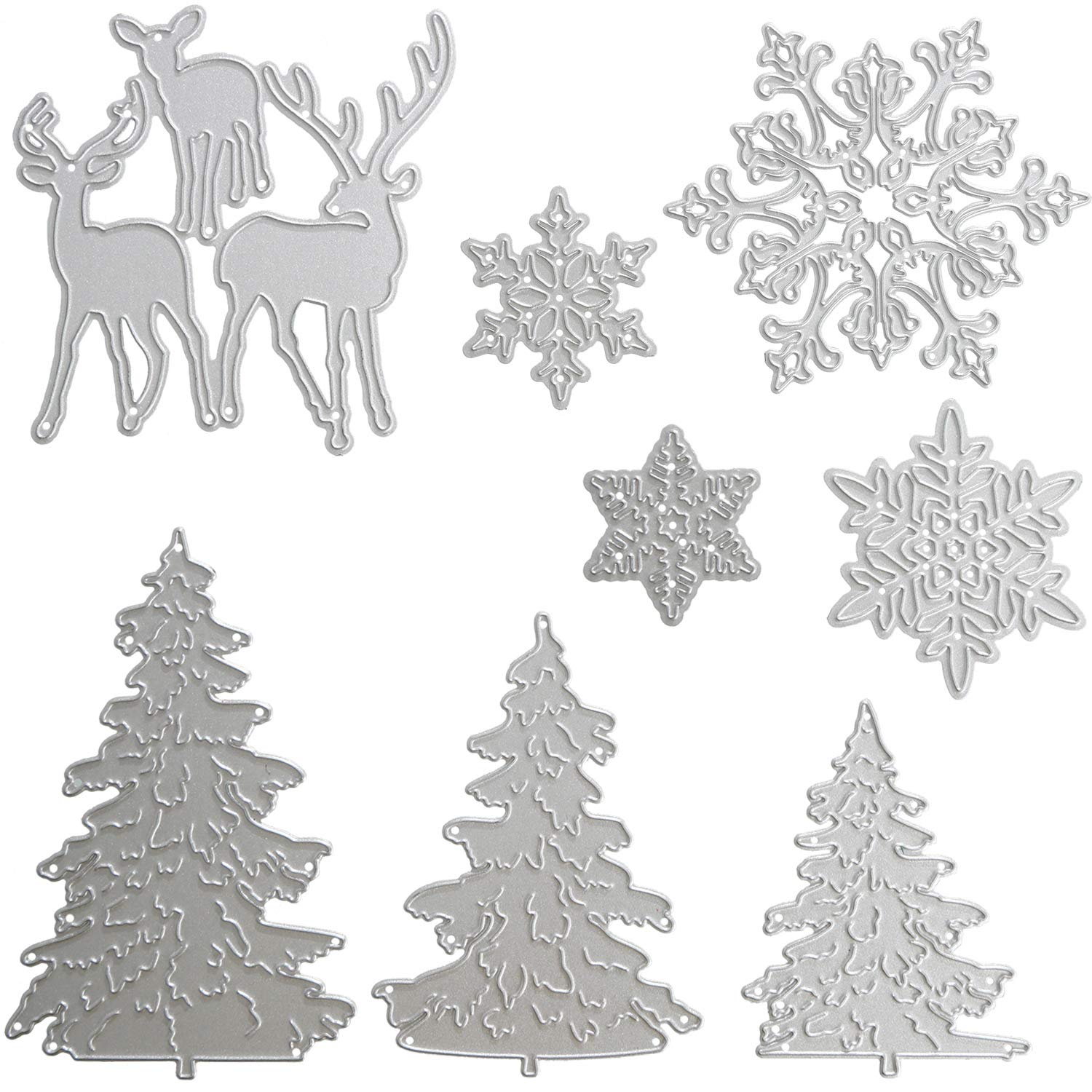 Pangda 8 Pieces Christmas Metallic Cutting Dies Embossing Dies Stencil, Include Snowflake, Christmas Tree Reindeer Metal Mould DIY Crafts