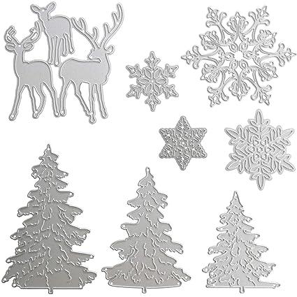 8 Piezas de Troqueles Metálicos Troqueles de Corte de Navidad incluye Molde de Metal de Copo