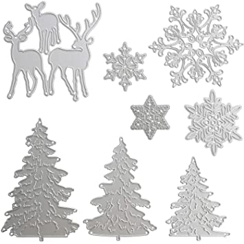 8 Piezas de Troqueles Metálicos Troqueles de Corte de Navidad incluye Molde de Metal de Copo de Nieve, Árbol de Navidad y Reno para Manualidades: Amazon.es: ...