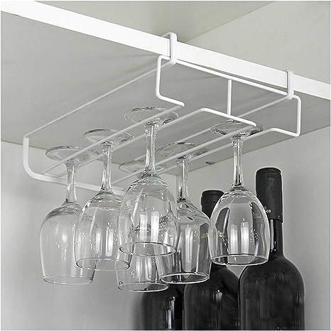 Fiedfikt Under Cabinet Wine Rack Wine Rack Hanging Glass Holder Bar Kitchen Stem Cup Wine Glass Holder Amazon De Home Kitchen