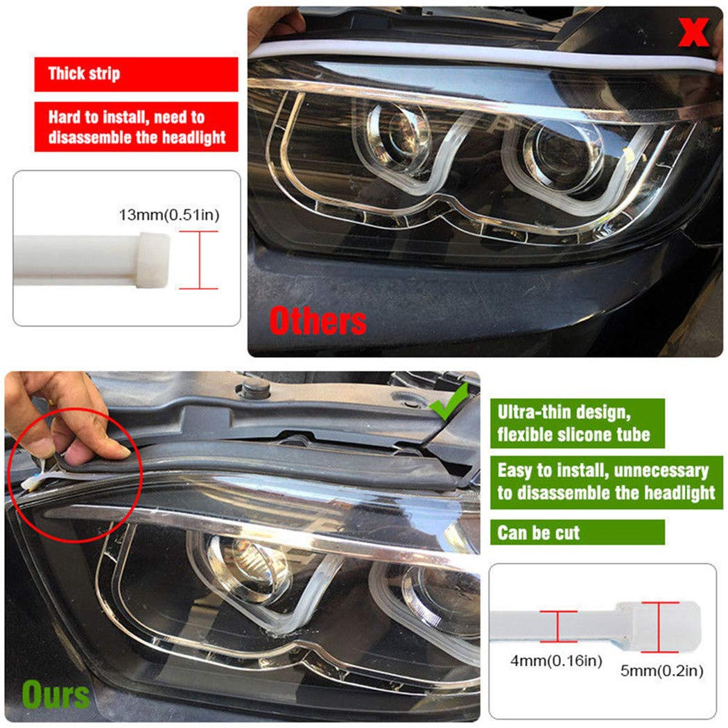UKMASTER 2/x 45/cm White Amber Dual Color Silicone Flessibile DRL LED Luce di Marcia Diurna luci di 12/V sequenziale Switchback luci Striscia di Segnalazione Fit Most Cars