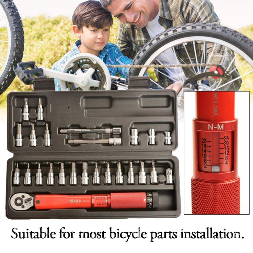 Pro Bike Tool 1//4 Inch Drive Click Torque Wrench Set 2 to 24 Nm Bicycle Maintenance Kit for Road /& Mountain Bikes Motorcycle Multitool