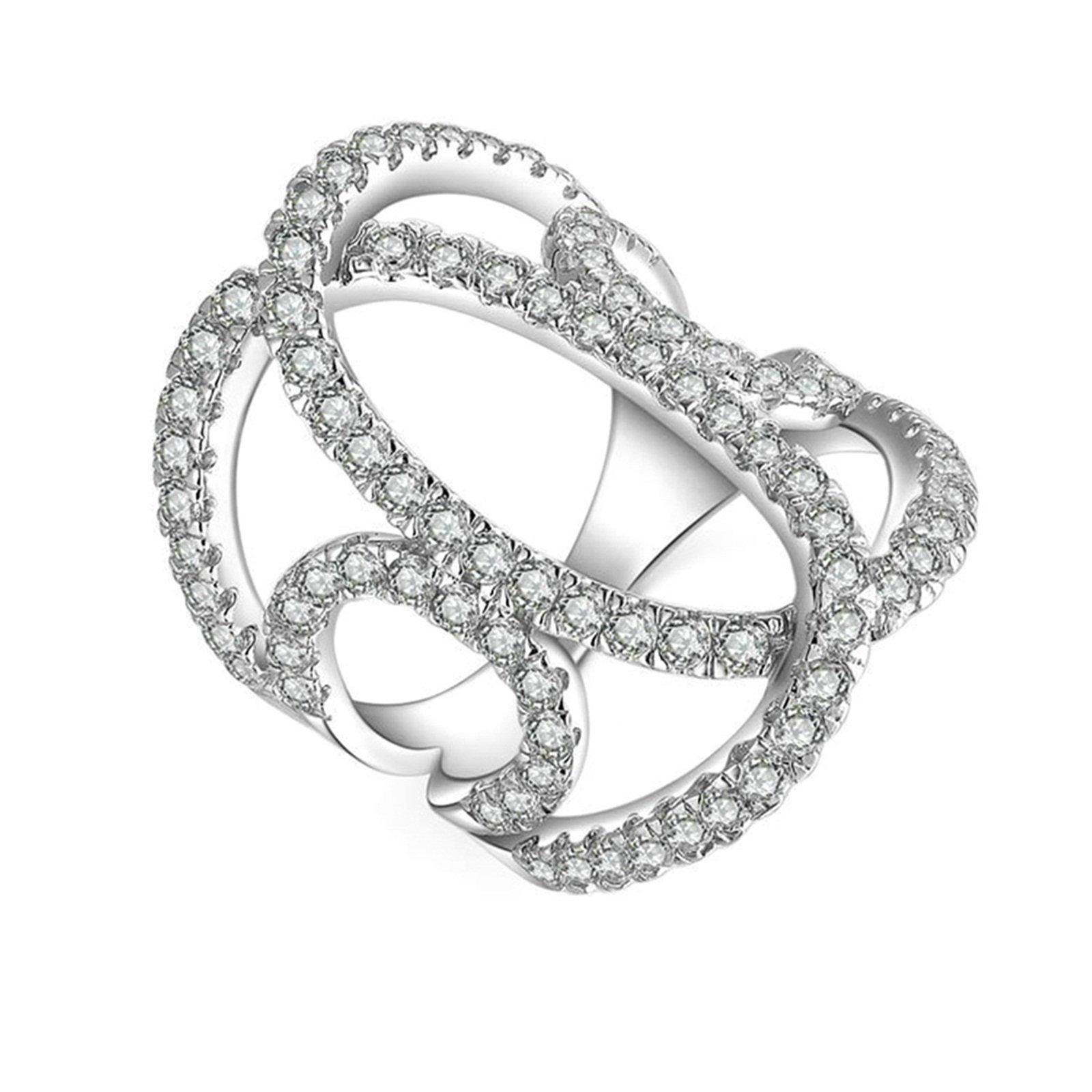 Beydodo Wedding Ring Zirconia Hollow Stackable Ring Round White Cubic Zirconia Size 11 Anniversary Gift