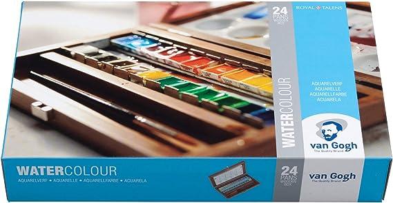 Van Gogh - Juego de acuarelas (24 colores, estuche de madera con pincel y paleta de mezclas): Amazon.es: Juguetes y juegos