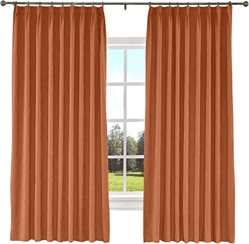 TWOPAGES 150 W x 96 L inch Pinch Pleat Blackout Curtain for Bedroom Polyester Cotton Blend Room Darkening Blackout Curtains with Liner, 1 Panel, Burnt Orange