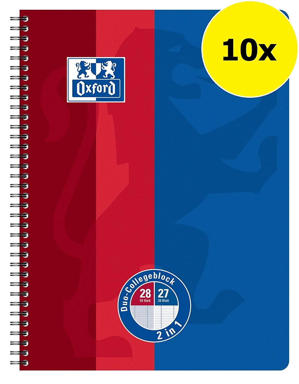 Oxford 400101421 Scuola Duo Quaderno a quadretti DIN A4 160 pagine 100 pagine e 60 pagine a righe combina in un blocco con doppio bordo blu/rosso Hamelin