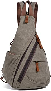Canvas Sling Bag - Small Crossbody Backpack Shoulder Casual Daypack Chest Bags Rucksack for Men Women Outdoor Cycling Hiking Travel (6881-D.Grey)