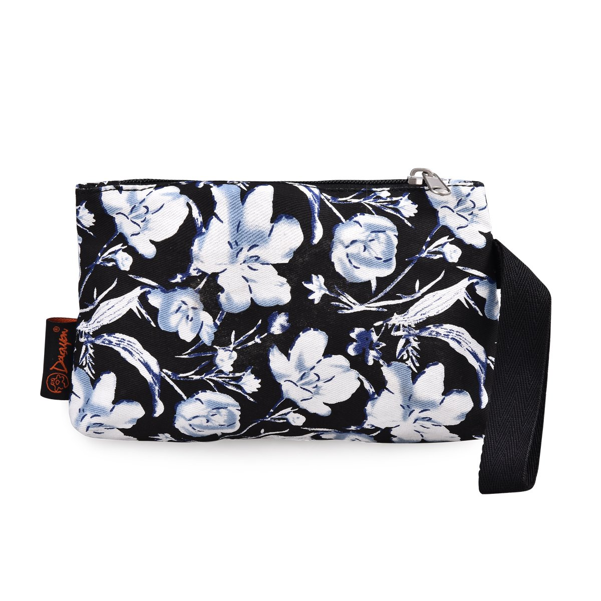 Flower 1 Pc DGY Black Canvas Floral Printed Backpack 3 Pieces School Rucksack for Teen Girls