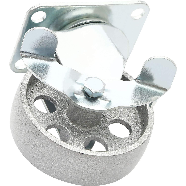 3 Plate 4 All Steel Swivel Plate Caster Wheels Heavy Duty High-Gauge Steel Gray