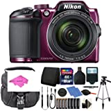 Nikon Coolpix B500 16MP Digital Camera Plum with Accessories + Extra Batteries and much more