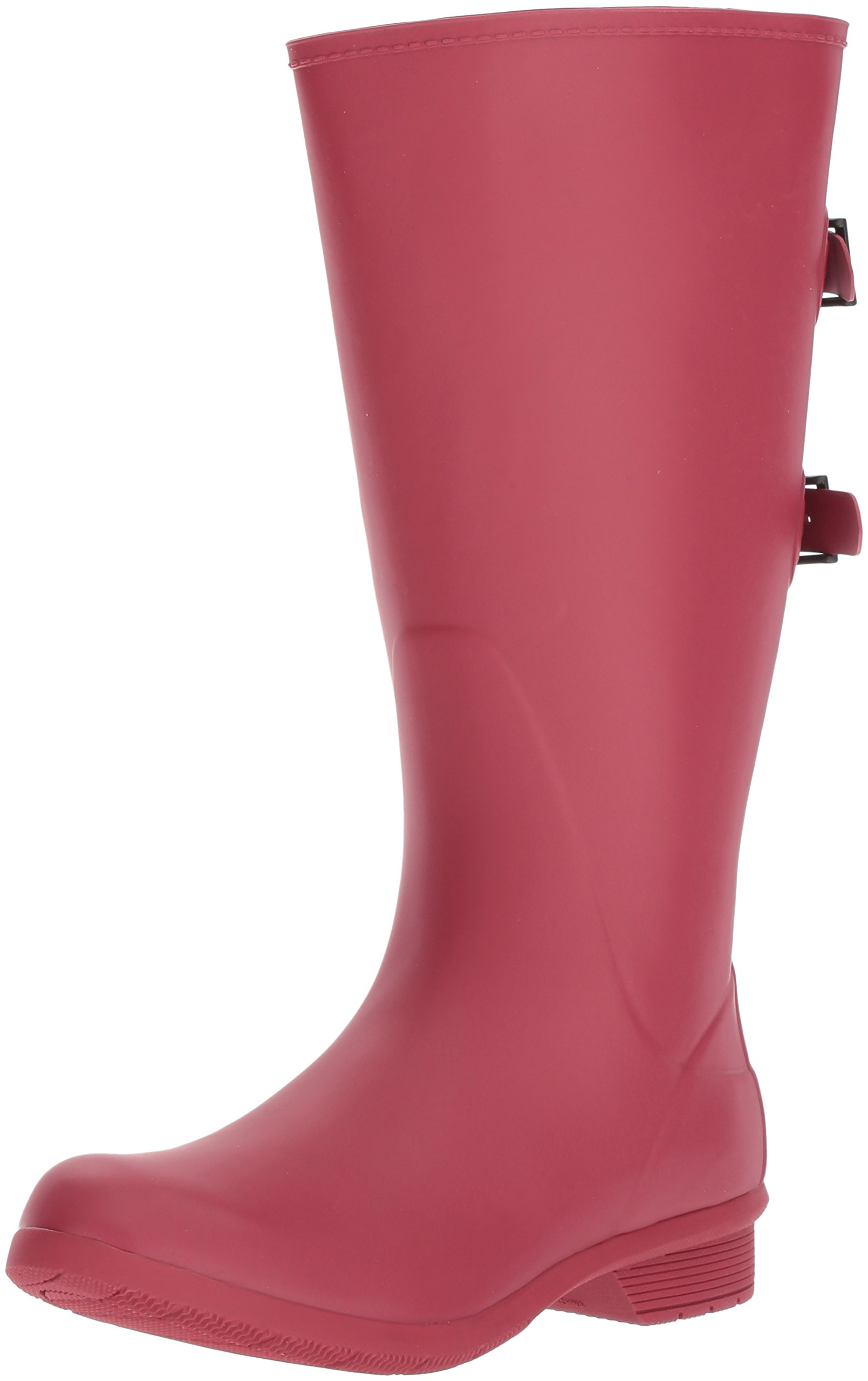 Chooka Women's Wide Calf Memory Foam Rain Boot, Raspberry, 9 M US