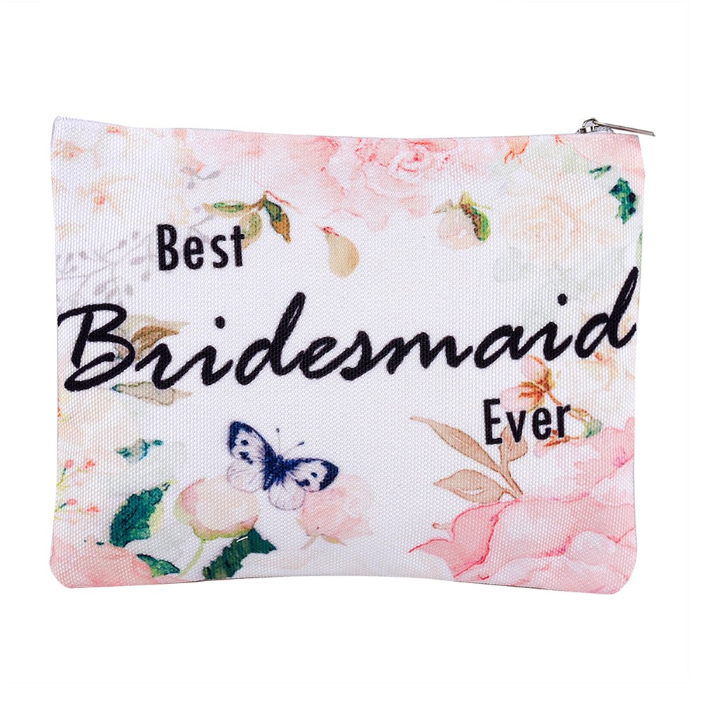 Pongs Bridesmaid Gift Makeup Bag, Bride Cosmetic Bag, Mother Makeup Organizer, Wedding Favors (Best Bridesmaid Ever)