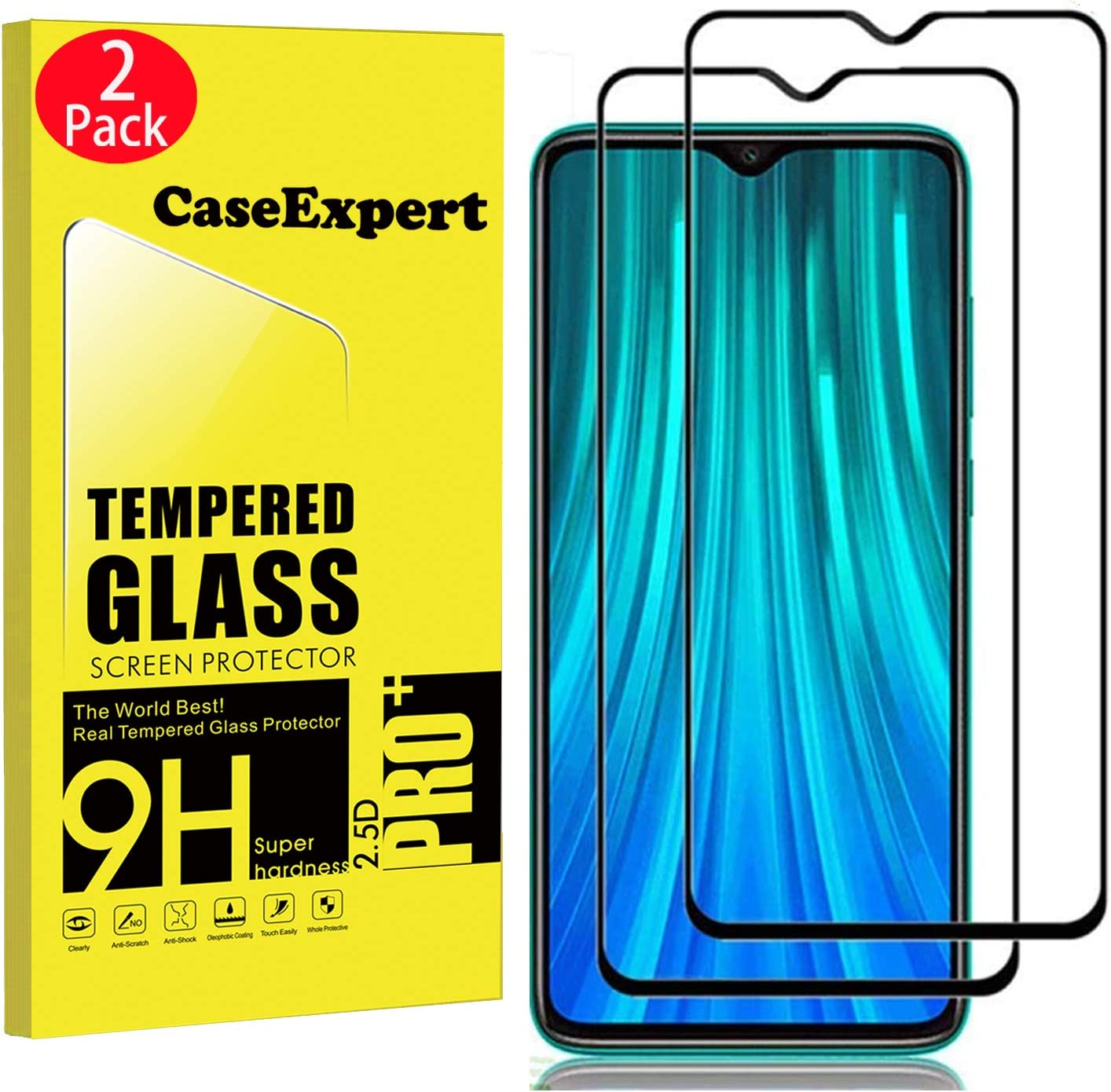 CaseExpert 2 Pack - Xiaomi Redmi Note 8 Pro Protector de Pantalla, Ultra Tanque Transparente Cristal 9H Cristal Templado Glass Protector de Pantalla para Xiaomi Redmi Note 8 Pro