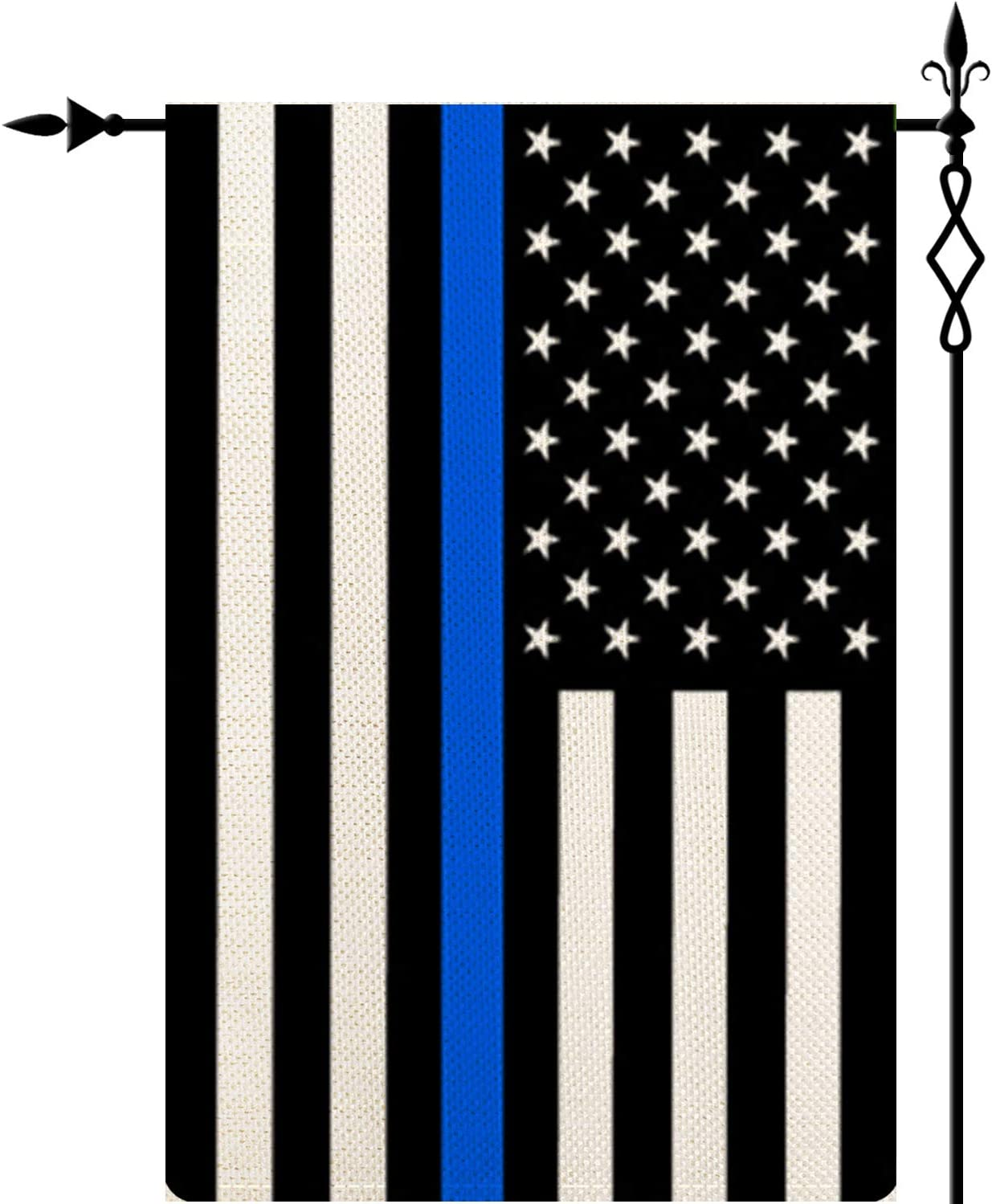 Thin Blue Line American US Flag Garden Flag Vertical Double Sided,American Double Sided Yard Flag Banner Patriotic Outdoor Lawn Decoration 12.5 X 18.5 Inch