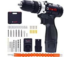 Cordless Drill with 2 Batteries - GOXAWEE Electric Screw Driver Set 100pcs Set with Durable Tool Case (High Torque, 2-Speed,