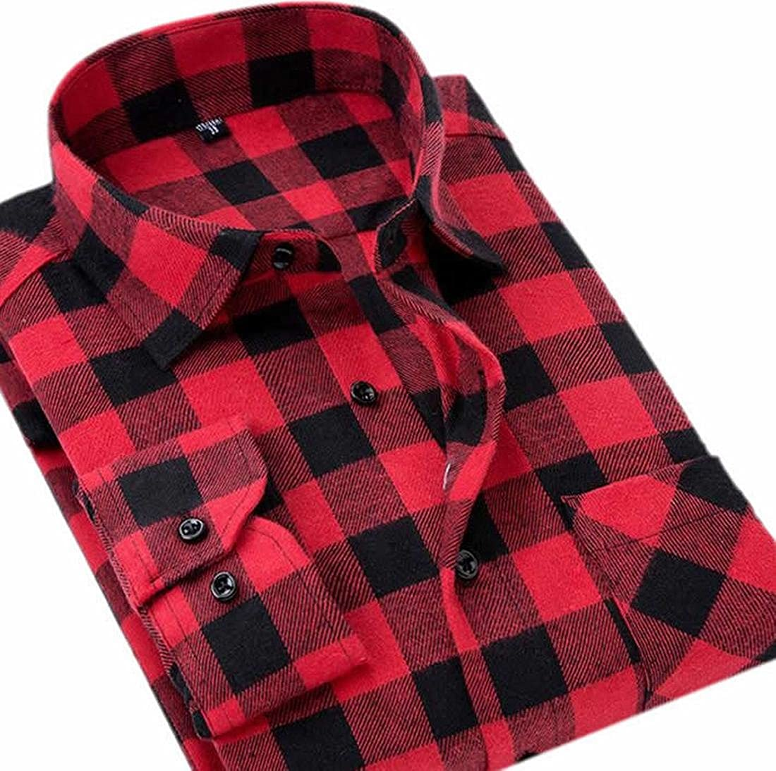Etecredpow Mens Flannel Casual Buffalo Plaid Checkered Long Sleeve Shirt