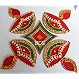 BDS CREATIONS 078 Red Designer Handcrafted Decorative Diwali Rearrangable Kundan Rangoli for Floor Decoration Set of 5pcs