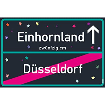 Cartel de unicornio Düsseldorf, negro, azul, unicornio ...