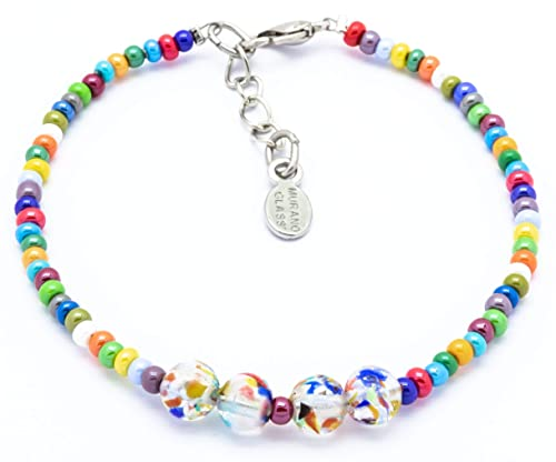Amazon Com Authentic Murano Glass Beaded Bracelet Seed Beads Handmade In Venice Italian Jewelry Hand Blown Glass Made In Italy Handmade