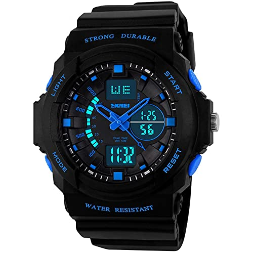 Kids Boys Digital Sports Watch, Boy Childrens Teenagers Electronic Outdoor Watches with Calendar Stopwatch Alarm Timer Dual Time Waterproof LED Light Analogue Wristwatch - Black Blue