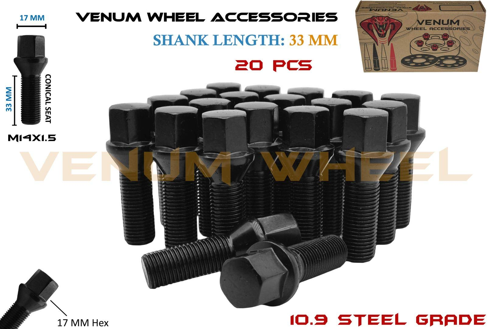 Complete Set of 20 Pc Black Powder Coated Conical Seat Lug Bolts 33 mm Extended Shank Length M14x1.5 Works With Volkswagen Audi BMW Mercedes Benz Porsche Vehicle W/ Aftermarket Wheels by Venum wheel accessories