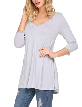 aa658de7c6d Women's Casual Tops Long Sleeve Lace Trim Deep V Neck A-Line Flowy Tunic(