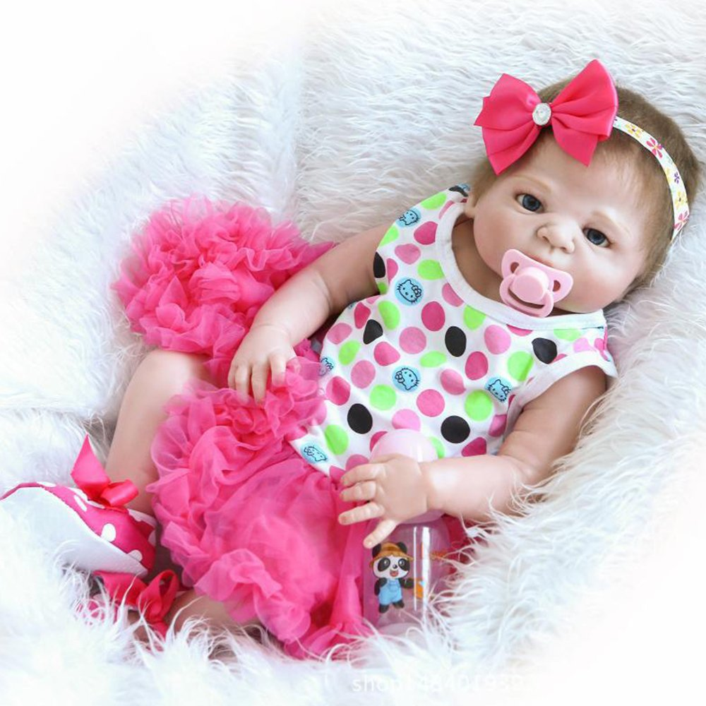 Reborn Baby Dolls Girl Full Silicone Body Look Real Rose Red Tutu Skirt 22 inches