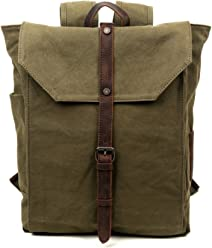 a009db574426 Travel Log Nova Backpack Genuine Canvas and Leather Bag (Army Green)