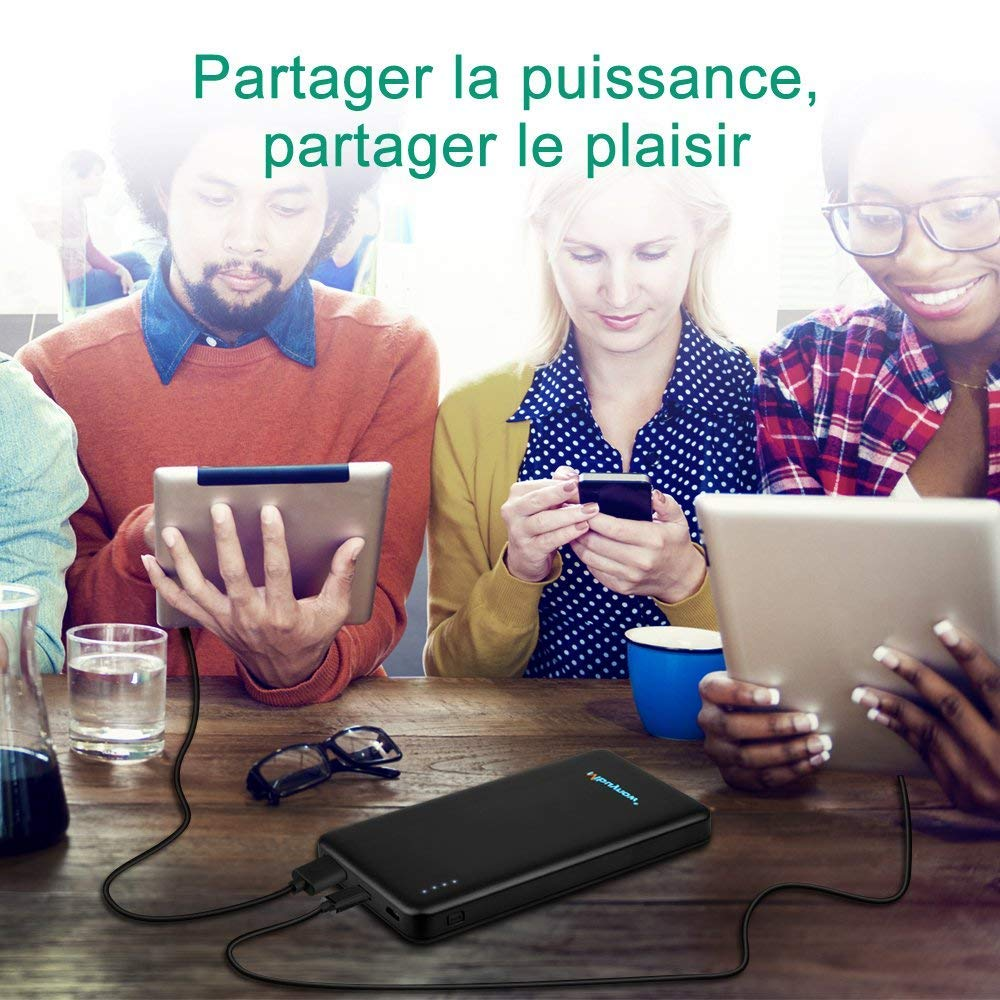 Mbuynow Batterie Externe Portatif 10000mAh Power Bank USB Porte 5V2.4A et Porte Type C pour iPhone iPad Samsung Galaxy Smartphone et Tablette