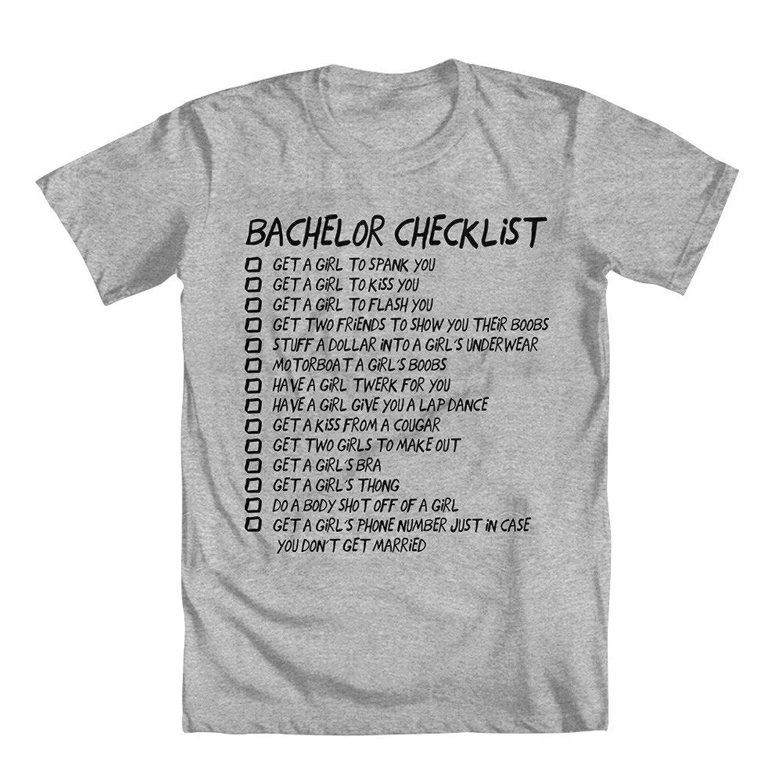 Amazon.com: GEEK TEEZ Bachelor Party Checklist Men's T-Shirt: Clothing