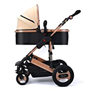 YBL Anti-shock Infant Stroller High View Newborn baby Folding Convertible kids Luxury Pram Rubber Four Wheels Carriage Four seasons apply Two-way implementation