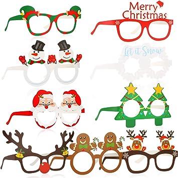caicainiu Occhiali da Festa di Natale novit/à di Natale Cornice in Vetro Glitterato per Bambini Stili Assortiti 12 Pezzi