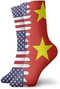 Harry wang Calcetines de bandera de Vietnam estadounidense divertidos Coloridos y deportivos Medias deportivas para hombres, mujeres, 8.5x30 cm: Amazon.es: Salud y cuidado personal