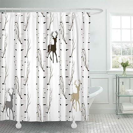 Amazon Emvency Shower Curtain Blue Cute Birch Tree Deer Gray