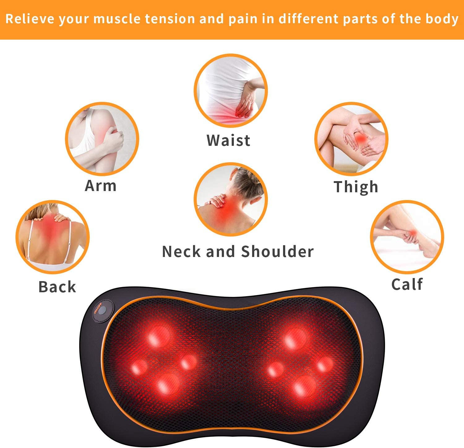 Shiatsu Massage Pillow Neck Back Massager with Heat, Deep Tissue Kneading Massage for Shoulder, Lower Back, Calf, Legs, Foot Muscle Pain Relief – Home, Office Car Use