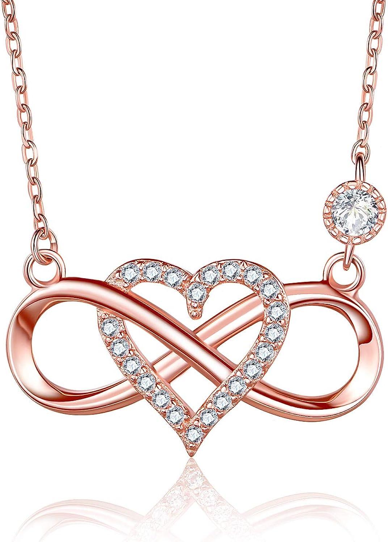 BlingGem Collares para Mujer Plata 925 Chapado de Oro con Zirconia Cúbica Redondo Infinito Corazón Colgante Cadena Ajustable,48 cm