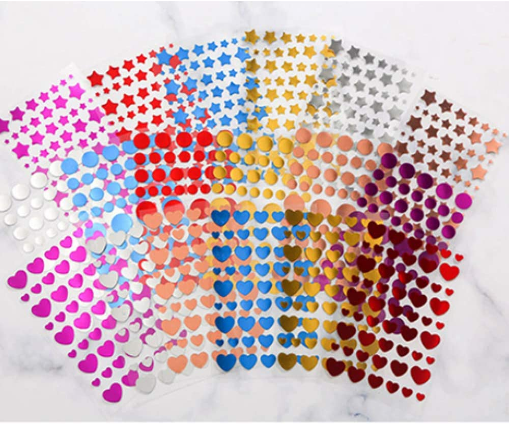 X-BLTU 18 Fogli Glitter Stickers Adesivi Etichette Cuore Stelle Colorati Masking Tape Sticker Cuore Stelle Colorati Decorazioni Scrapbooking Diario Foto Agenda Biglietti
