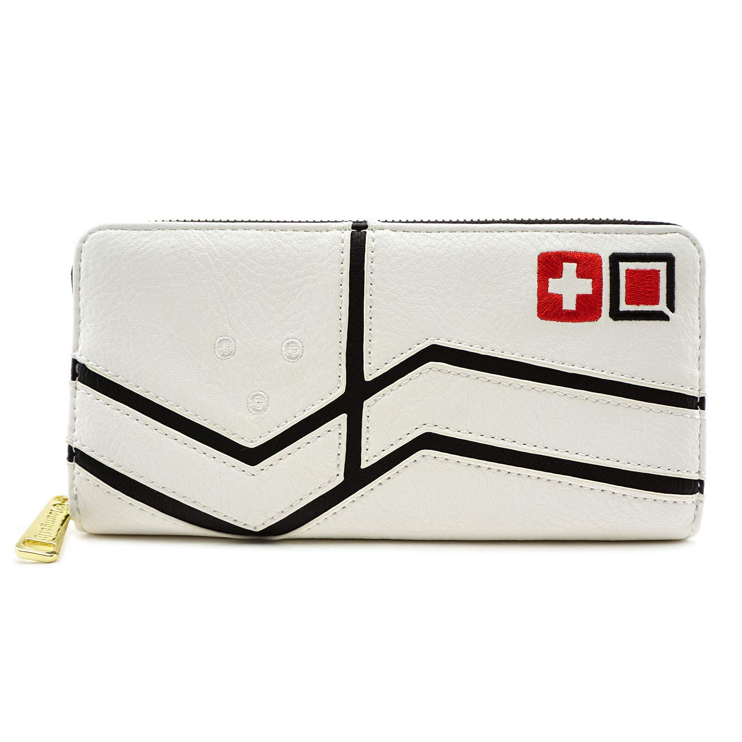 Loungefly Overwatch Mercy Faux Leather Zip around Wallet,Black,cream,Standard by Loungefly (Image #1)
