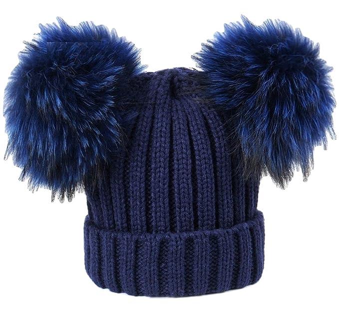 BrillaBenny Cappello Cuffia Blu Navy Doppio PON PON Vera Pelliccia Modello  Topolino (Ragazza 9835c69d31a7