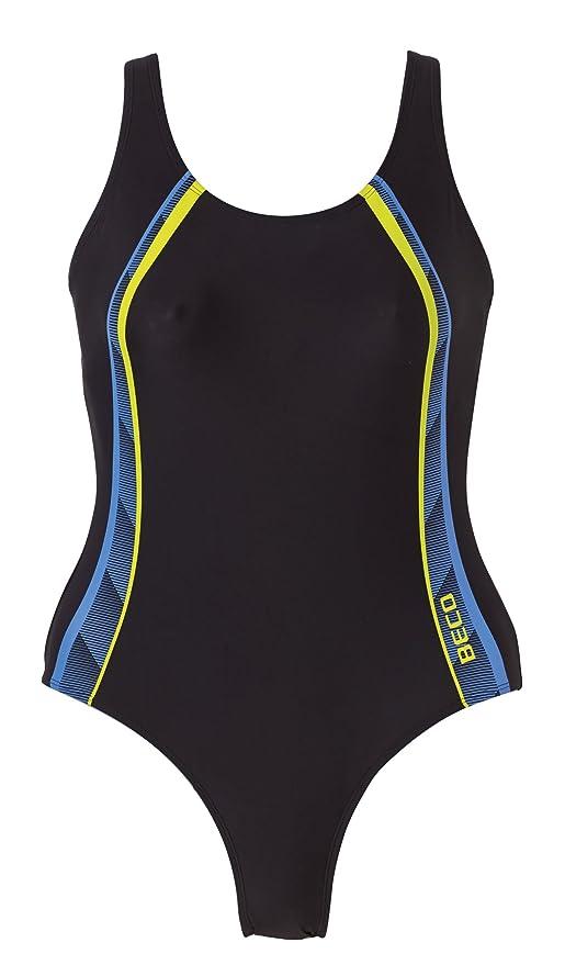Beco Damen Badeanzug-Basics, 6622, schwarz (Schwarz Blau Gelb) 2f948b2109