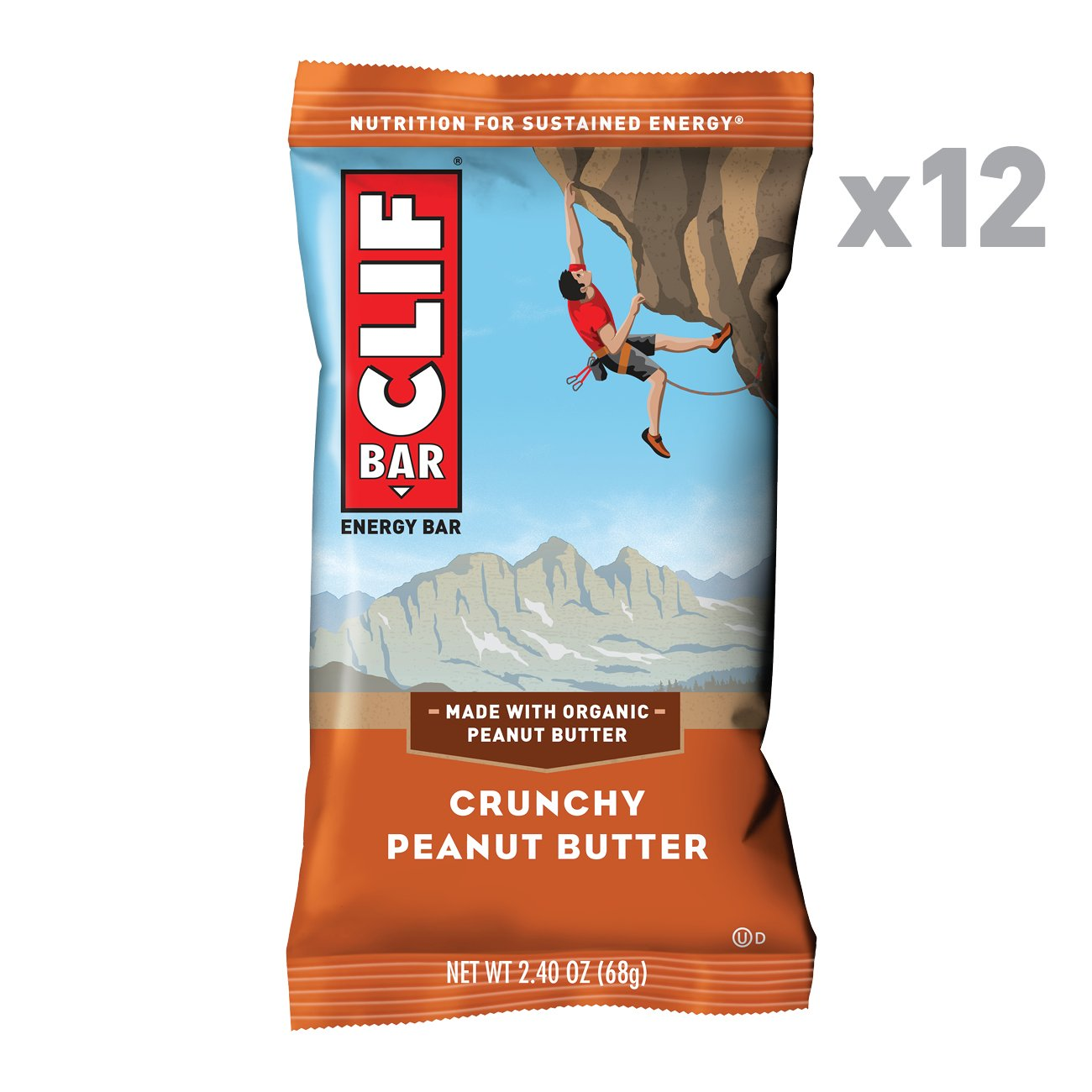 CLIF BAR - Energy Bar - Crunchy Peanut Butter - (2.4 Ounce Protein Bar, 12 Count)