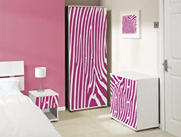 Expressive Furniture Pink Zebra Design Weiß Schlafzimmer Möbel Set