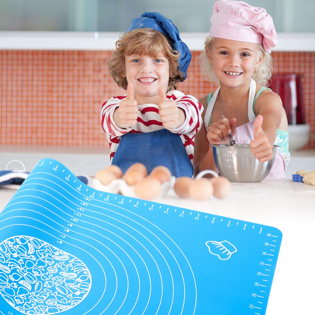 Silicone Baking Mat for Pastry Rolling with Measurements Silicone Cooking Mat Reusable Non-Stick Kneading Dough Mat Heat Resistance Table Placemat Board for Cooking Lovers