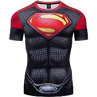 GYM GALA Superman Classic Logo Men's Short Sleeve 3D Printed Compression Sport Fitness T-Shirt